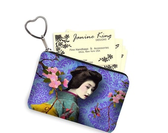 Zipper Coin Purse Keychain Fob  Asian Business Card Case Bridesmaid Gift Small Zipper Damask Geisha Bird purple blue pink teal gold RTS
