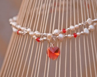SALE - Swarovski Crystal Heart and Freshwater Pearl Necklace