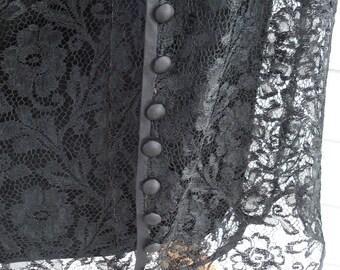 FINAL SALE 1920's Antique Black Lace Dress Satin Lining Dropped Waist Flapper