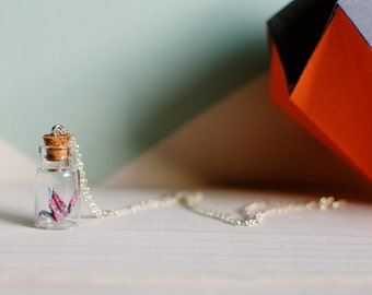 Handmade Origami Crane Jar Necklace