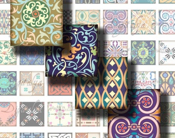 Tiles From Around The World (3) Celtic Oriental Asian Victorian Art Nouveau -Digital Collage Sheet - Squares 1 inch or smaller -