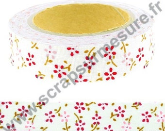 Masking tape adhesive fabric - Floral blush - 15mm x 4 m