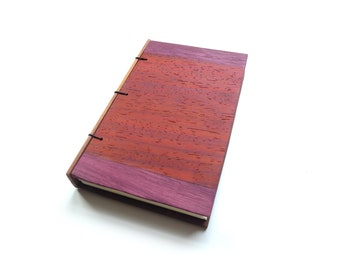 Padauk Wooden Notebook Wood Journal Sketchbook Rustic Wood Wedding Guest Book Personalized Journal Refillable Journal Custom Journal