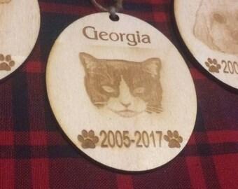 cat portrait, cat ornament , custom cat ornament, pet memorial gift, cat loss gift, cat keepsake, cat memorial gift, cat gift