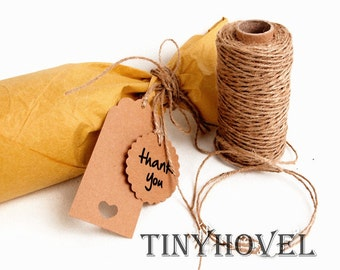 1 Roll / 100 Meter Classical Kraft JUTE Twine String for crafting, gift wrapping, packaging, invitations
