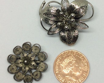 Two Vintage Filigree Flower Brooches
