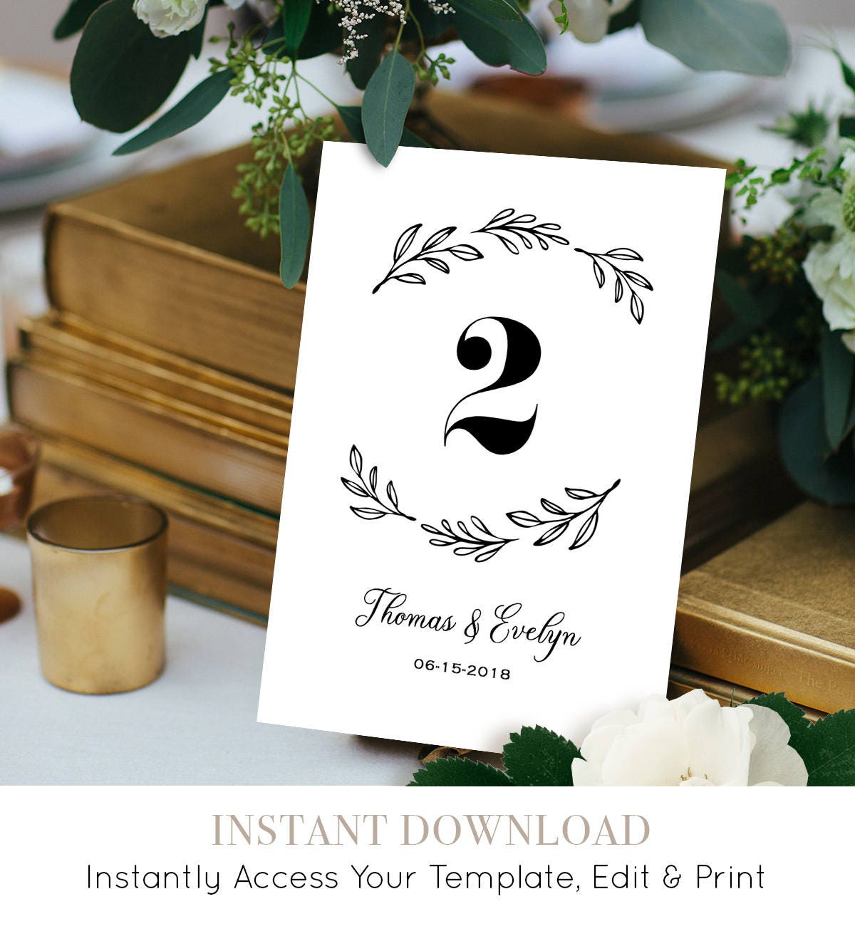 Wedding Table Number Template, Printable Table Card, Seating Card ...