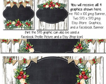 Holiday Facebook DIY Set, White Barn Wood Blank Etsy Banner and Facebook Set -Christmas Cottage  - Customize for your Store