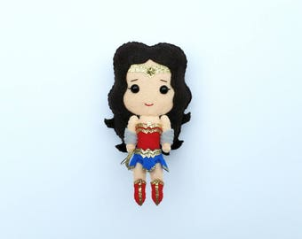 Wonder Woman Felt Plush Doll | Wonder Woman Plushie | Wonder Woman Ornament | Wonder Woman Doll | DC Superhero