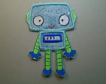 Walking Robot embroidered iron on applique or patch