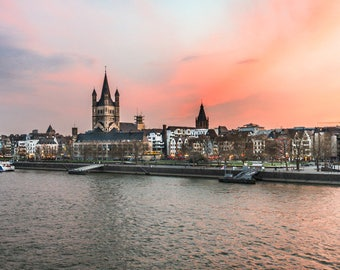 Cologne, Köln - Great St. Martin Church over the Rhine River.  Germany, Europe. Large photo print