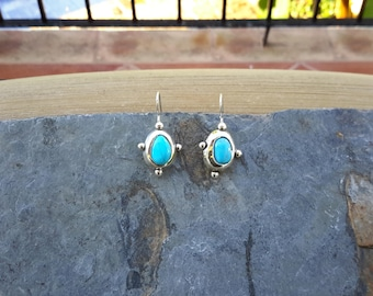 No. 116 Castle Dome Turquoise Dangle Earrings in .950 Sterling Silver
