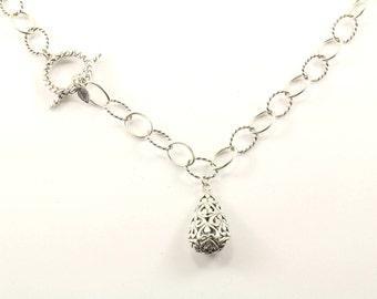 Vintage Oval Link Scroll Design Toggle Necklace 925 Sterling Silver NC 570