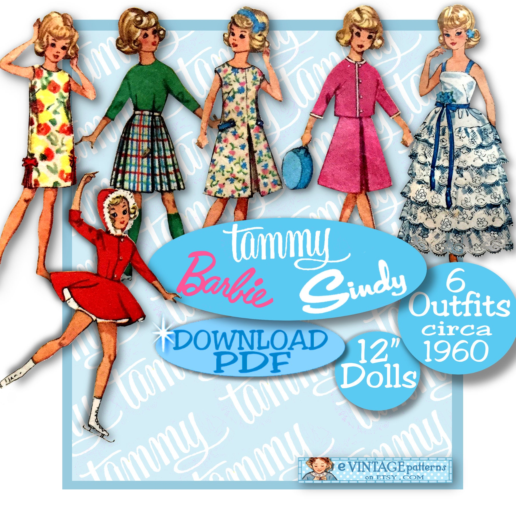 12 Doll Clothes PDF 5214 Barbie Tammy Stacey Prom Gown