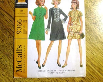 "MOD 1960s Fit and Flare A-Line Dress w/ Ruffle Detail / CUTE Go-Go Party Dress - Size 12 (Bust 34"") - VINTAGE Sewing Pattern McCalls 9366"