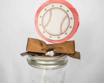 Baseball Whirly Pop. Party Favor. Lollipop. Red. Cherry. Candy