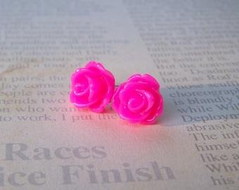 Magenta Rose Earrings