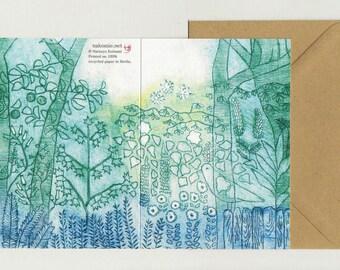 2 Grusskarten-Set Recycling Papier Klimaneutral gedruckt in Berlin SPREEWALD Radierung