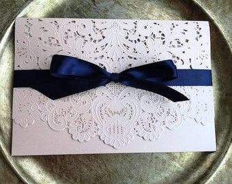 Laser Cut pocket, Laser cut invitation, lace wedding invitations, blush invitations, pocket wedding invitations, glitter invitations