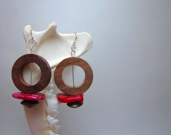 Wood Donut Earrings with Red Bamboo Coral chips, Sterling Silver Ear Hooks