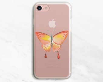 Watercolor Orange Butterfly iPhone 7 Case Clear iPhone 6 Case Clear iPhone 6 Plus Case Clear iPhone 7 Plus Case Clear iPhone Case