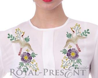 Machine Embroidery Design Crane & spring wild flowers for neckline - 2 sizes