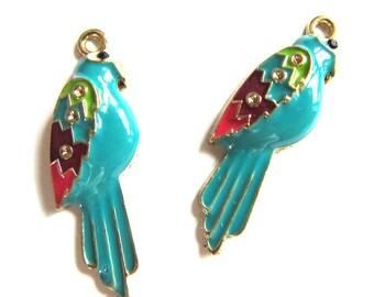 4 Pieces Bright Colorful Enamel Parrot Charm Pendants