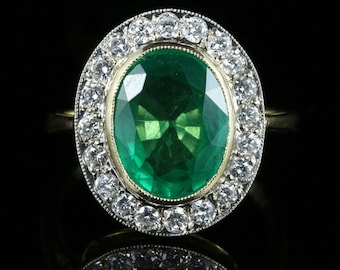 Emerald Diamond Engagement Ring 18ct Gold 7ct Natural Emerald