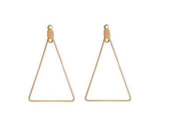 Set of 2 gold tone brass triangle shape