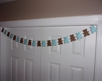 Teddy Bear Garland Baby Blue and Brown - Baby Shower Decor - Wall Decor - Baby Bear Banner - Wall Decor - Door Decor - It's A Boy