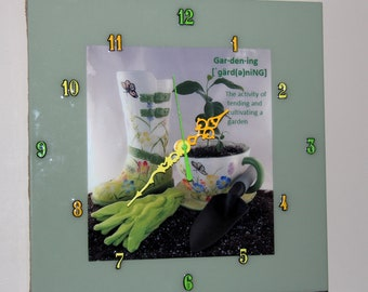 Gardening, Garden, soil, gardening gloves, plants, potter, rain boot, tea cup, plants, planter, clock, nature,