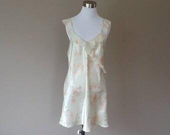 M / Chemise / Nightie / Dress / Ivory / Yellow Floral Print / Medium