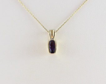 """14k Yellow Gold Natural Purple Amethyst and Diamond Necklace 18"""" Chain"""