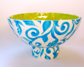 Whimsical pottery Serving Bowl for Candy, ceramic snack dish --  bright blue & chartreuse with polka-dots baroque pattern