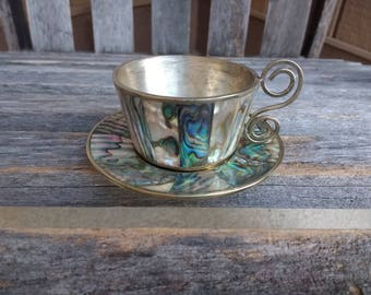 Vintage Abalone Alpaca Expresso Cup and Saucer Demitasse Expresso Coffee Tea Cup Made in Mexico