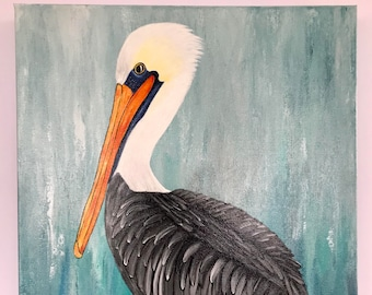 """Brown Pelican Abstract Painting 16x20"""" Gallery Wrapped Canvas """"Lulu"""""""
