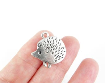 5 Hedgehog Charms - Antique Silver - 21mm x 20mm
