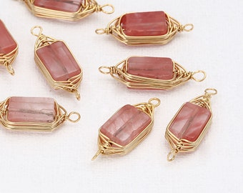 Cherry Gemstone Pendant Polished Gold -Plated - 2 Pieces <BM0004-PGCEandgt;