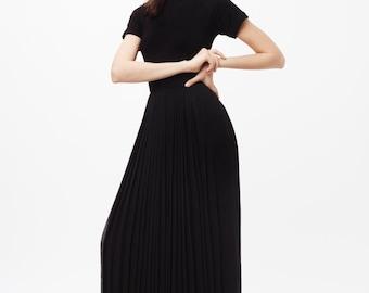 Black Long Dress with chiffon overlay. Turtleneck black dress with sheer material, long black dress