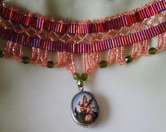 Red Indian beadwoven choker (#1)
