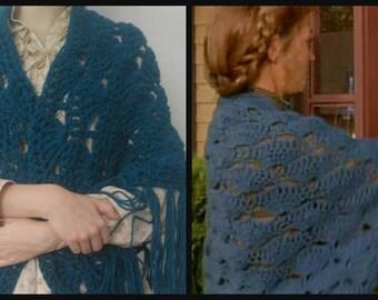 Dr. Quinn Michaela's Teal Shell Shawl Crochet, Dr. Quinn Replica Shawl , Medicine Woman, Oversized Pioneer Dr. Quinn Costume