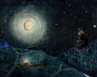 "Art print // fire - moon - stars // ""Home"""