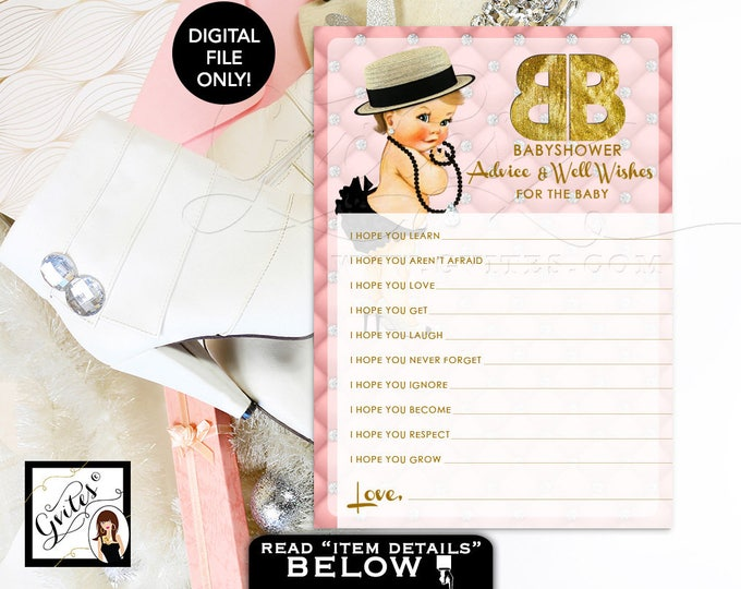 """Pink and Gold Advice Wishes for baby, designer baby advice card, pink gold diamonds pearls, party printable. {You Print} 5x7"""" 2 Per Sheet."""