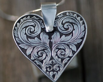 Heart & Scroll, Sterling Silver Pendant, Hand Engraved, Hand Made