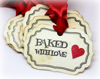 Valentine's Day Gift Tags (Double Layered) - Baked with Love - Vintage Homemade Baking Supplies - Baked Good Food Labels (Set of 8)