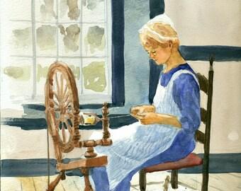 Shaker Spinner, Woman Spinning Wool. Spinning Wheel, Original Watercolor Painting, Shaker Village, Pleasant Hill, KY