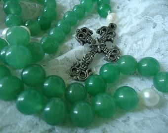Light Aventurine and Pearl Rosary