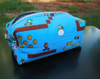 Toiletry Bag - Super Mario Brothers- Nintendo- Original Mario and Luigi- School Supplies - Pencil and Electronics case- Graduation Gift