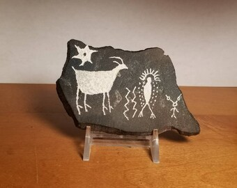 "5""x3""Petroglyph Replica Rock Art Hand Crafted by Local Texas Artist"