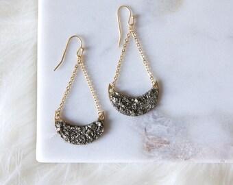 Pyrite Crescent Earrings